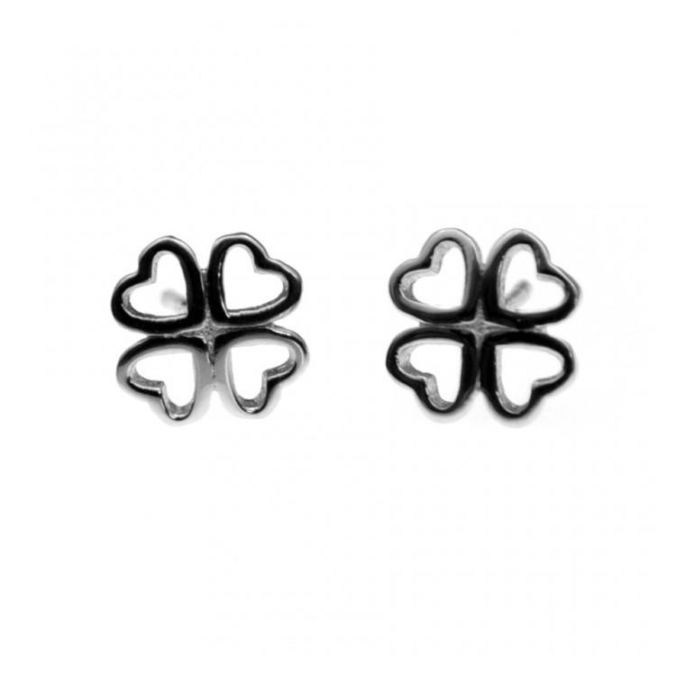 Kolczyki srebrne - koniczyna - 0004