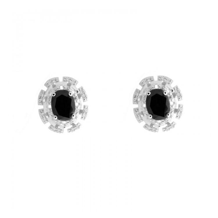 Kolczyki srebrne z kamieniem - 0012