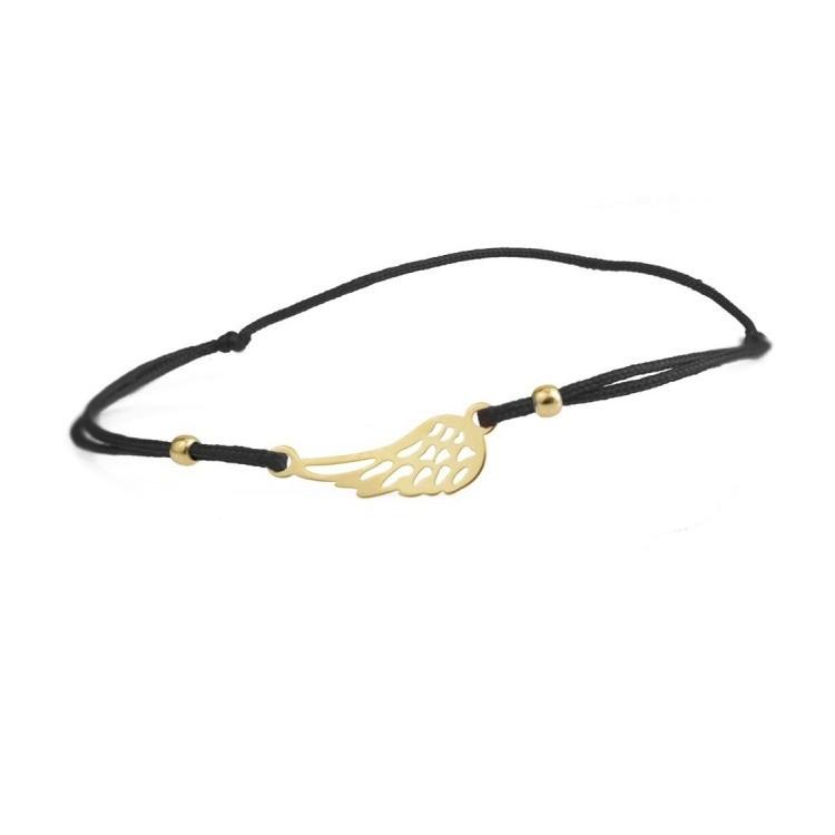 Bransoletka sznurkowa złota - 585 - 0002