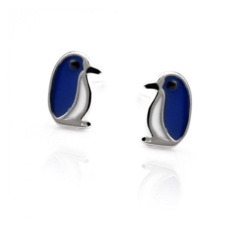 Kolczyki srebrne pingwiny