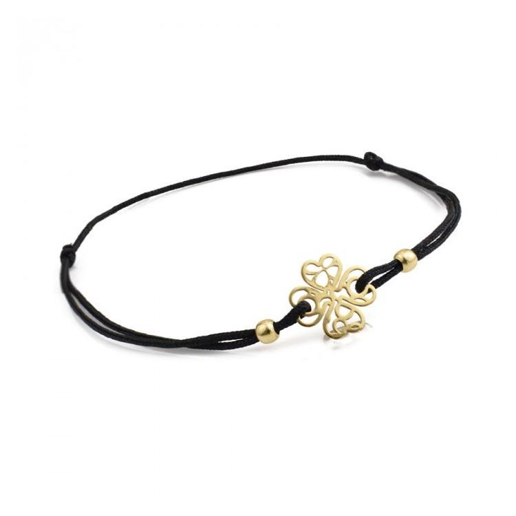 Bransoletka sznurkowa złota - 585 - 0011