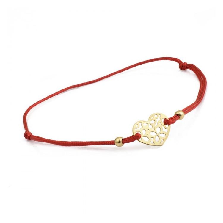 Bransoletka sznurkowa złota - 585 - 0014