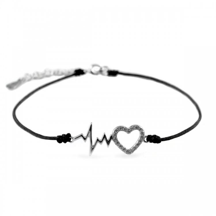 Bransoletka sznurkowa srebrna z sercami i EKG - 0007