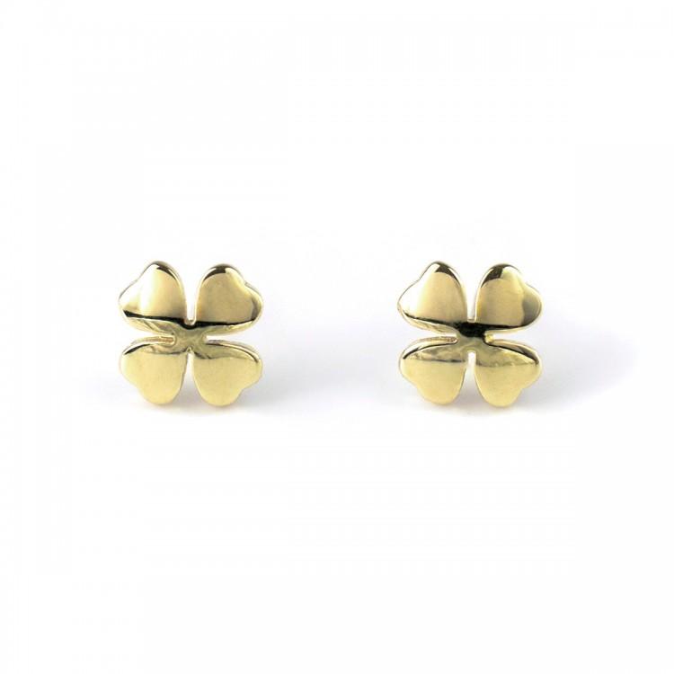 Kolczyki złote gładkie koniczynki