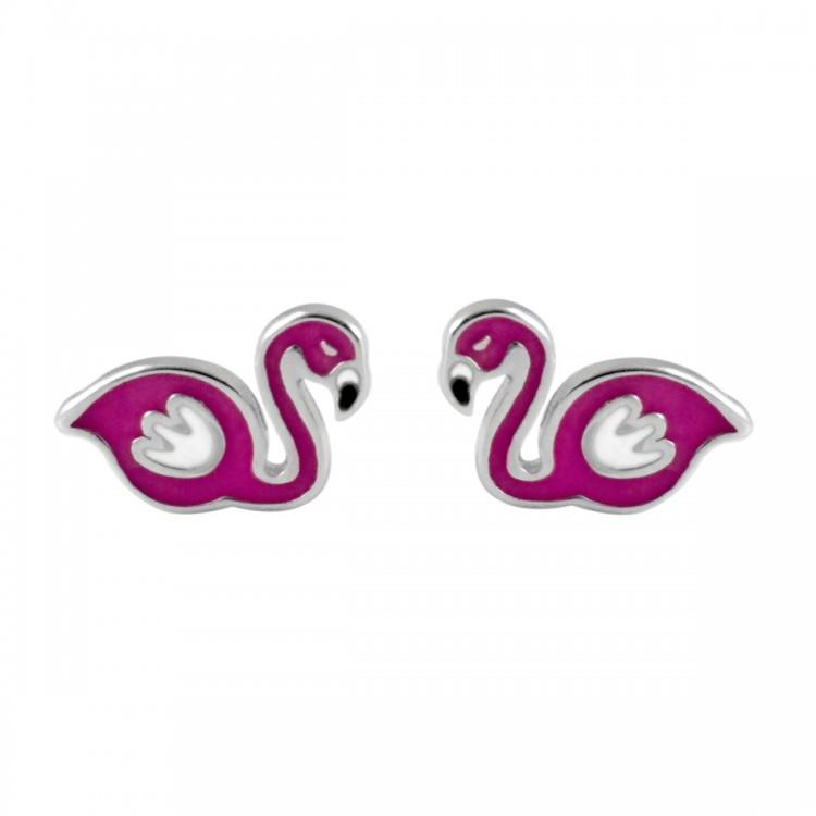 Kolczyki srebrne flamingi