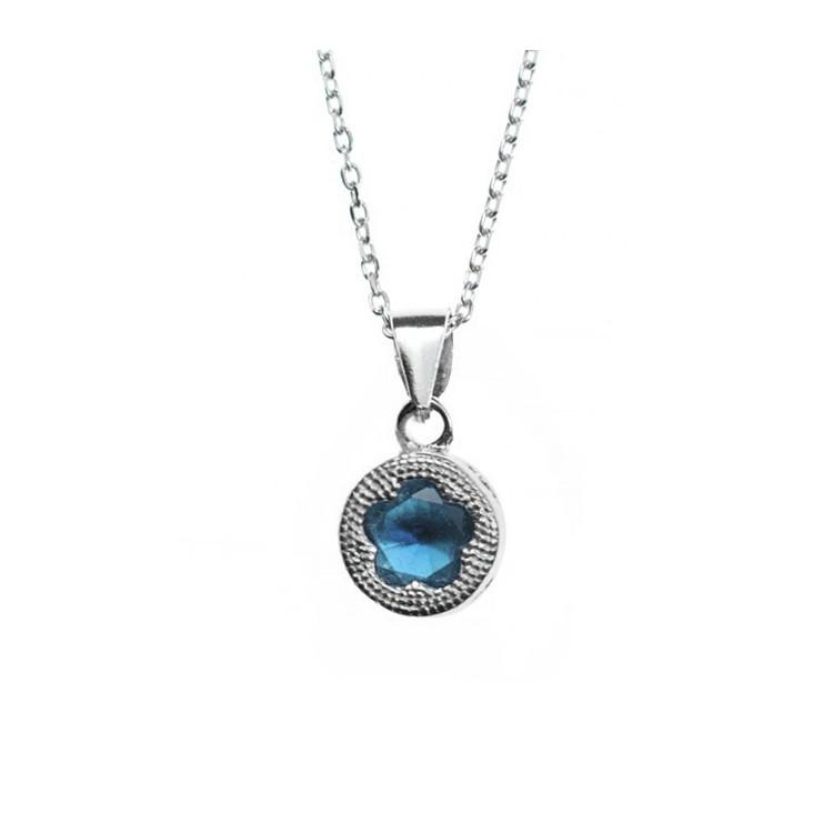 Zawieszka srebrna z niebieską cyrkonią