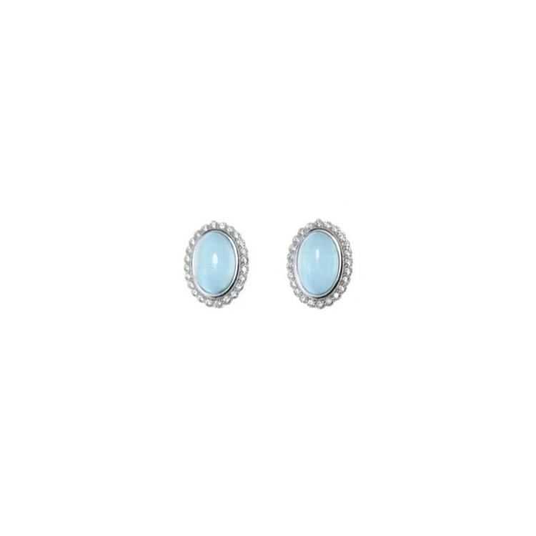 Kolczyki srebrne z niebieskimi kamieniami